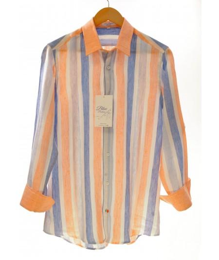 Camicia Maiorca Arancio 100% lino