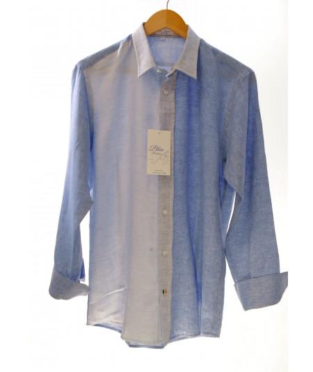 Camicia Patch Azzurro 100% lino