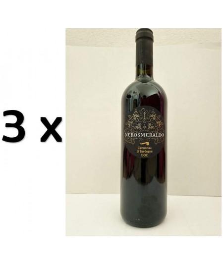 3 Bottiglie di vino rosso Cannonau Sardo Nero Smeraldo DOC